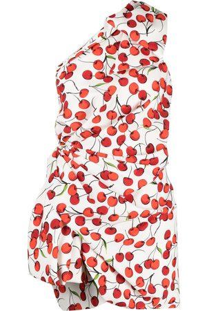 Saint Laurent Women Party Dresses - Cherry print one-shoulder dress