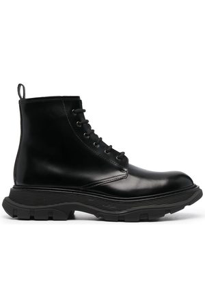 Alexander McQueen Men Ankle Boots - Lace-up leather ankle boots