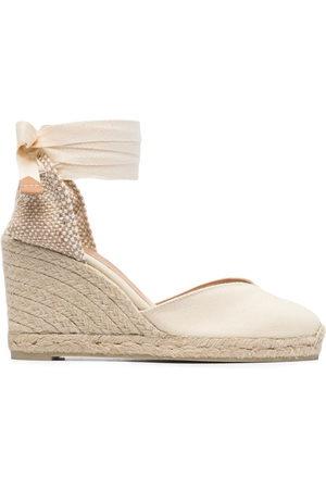 Castañer Women Wedges - Tie-fastening wedge sandals - Neutrals