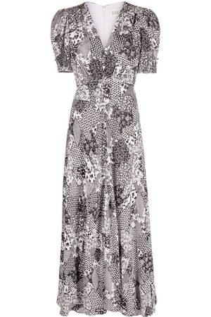SALONI Floral-print midi dress