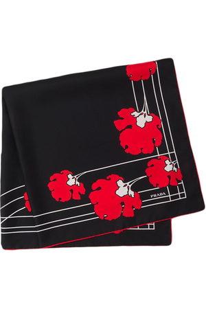 Prada Peony-print scarf