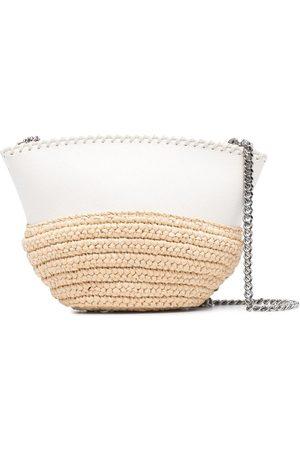 Stella McCartney Raffia detailing chain-link crossbody bag