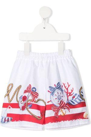 MONNALISA Nautical-print elasticated shorts