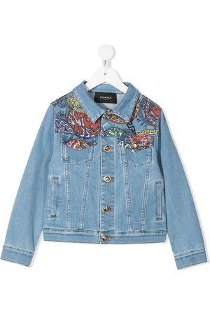 VERSACE Girls Denim Jackets - Logo-print buttoned denim jacket
