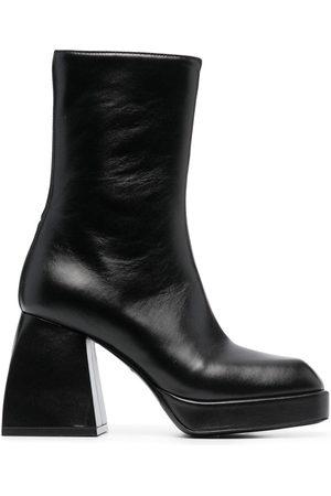 NODALETO Women Heeled Boots - Block-heel leather boots