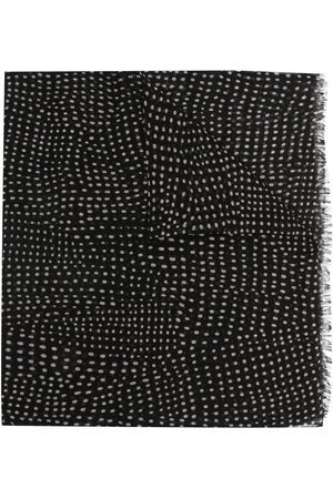 Saint Laurent Women Scarves - Polka dot fringed scarf