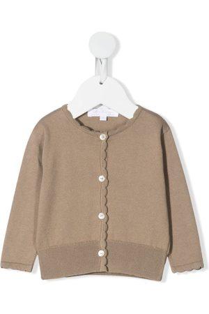 Mariella Ferrari Cardigans - Scallop-trim fine-knit cardigan - Neutrals