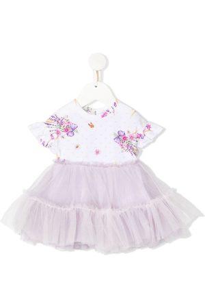 MONNALISA Floral print flared tulle dress