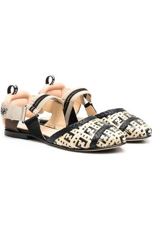 Fendi Girls Ballerinas - FF-pattern ballerina shoes - Neutrals