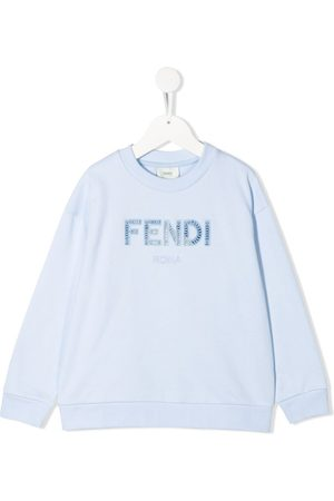 Fendi Girls Hoodies - FF-logo embroidery sweatshirt