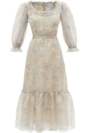 LUISA BECCARIA Floral-print Gathered Silk-organza Dress - Womens - Nude Multi