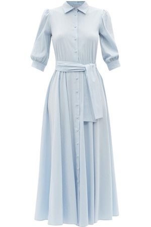 LUISA BECCARIA Women Casual Dresses - Belted Striped Cotton-blend Midi Shirt Dress - Womens - Stripe