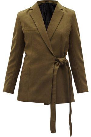 Thebe Magugu Women Blazers - Double-breasted Wrap Cotton-twill Blazer - Womens - Khaki