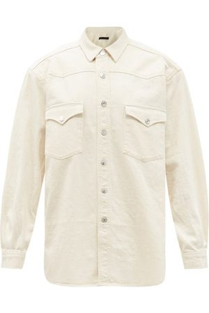Made In Tomboy Round Padded-shoulder Denim Shirt - Womens - Ivory