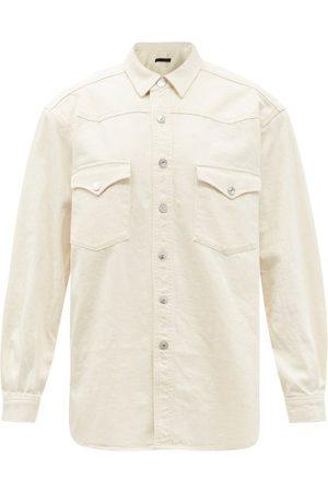 Made In Tomboy Round Padded-shoulder Denim Shirt - Womens - Ivory