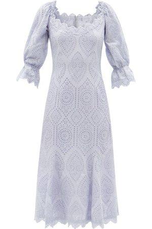LUISA BECCARIA Broderie-anglaise Cotton-poplin Dress - Womens - Light