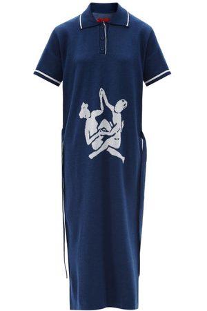 Thebe Magugu Sisterhood Logo-intarsia Knitted Polo Shirt Dress - Womens - Navy