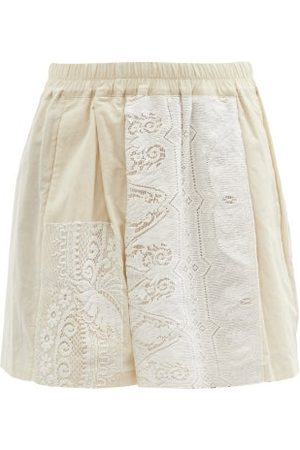 BY WALID Narmin Lace-panel Upcycled-cotton Shorts - Womens