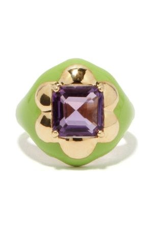BEA BONGIASCA Floral Disco Amethyst, 9kt Gold & Enamel Ring - Womens - Multi