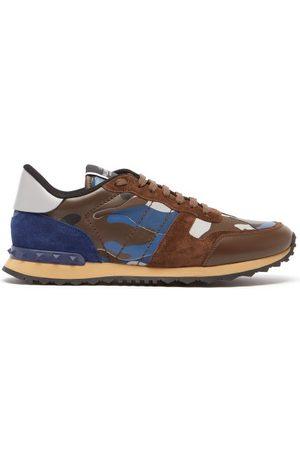 VALENTINO GARAVANI Rockrunner Camo-print Suede And Leather Trainers - Mens - Multi