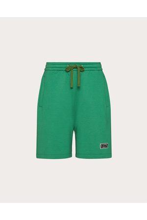 VALENTINO Vltn Tag Bermuda Shorts Man Olive Cotton 94% L