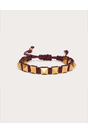 VALENTINO GARAVANI Rockstud Bracelet In Waxed Cotton And Metal Women Cherry Polyester 100% OneSize