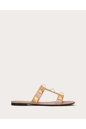 VALENTINO GARAVANI Roman Stud Flat Calfskin Slide Sandal Women Rose Cannelle 100% Pelle Di Vitello - Bos Taurus 35