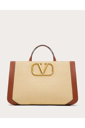 VALENTINO GARAVANI Supervee Handbag In Raffia With Chevron Pattern Women /tan 100% Pelle Di Vitello - Bos Taurus OneSize