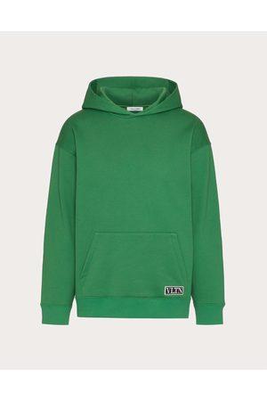 VALENTINO Hooded Sweatshirt With Vltn Tag Embellishment Man Olive Cotton 94% L