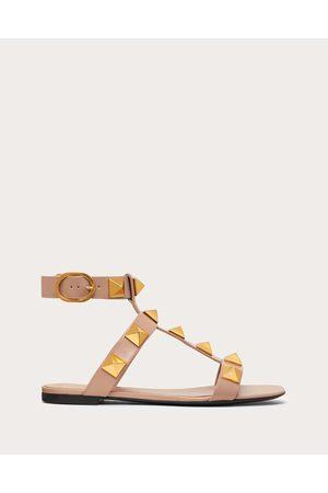 VALENTINO GARAVANI Roman Stud Flat Calfskin Sandal Women Rose Cannelle 100% Pelle Di Vitello - Bos Taurus 35