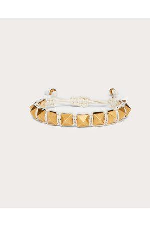 VALENTINO GARAVANI Women Bracelets - Rockstud Bracelet In Waxed Cotton And Metal Women Light Ivory Polyester 100% OneSize