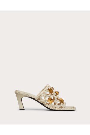 VALENTINO GARAVANI Roman Stud Slide Sandal In Woven Metallic Nappa 65 Mm Women Light Ivory 100% Lambskin 35.5