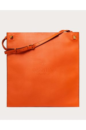 VALENTINO GARAVANI Men Bags - Valentino Garavani Identity Leather Tote Bag Man Zest 100% Pelle Di Vitello - Bos Taurus OneSize