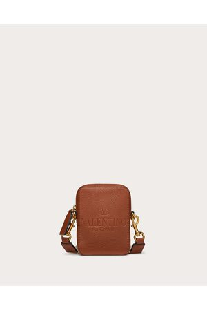 VALENTINO GARAVANI Men Bags - Small Valentino Garavani Identity Leather Crossbody Bag Man Saddle 100% Pelle Di Vitello - Bos Taurus OneSize