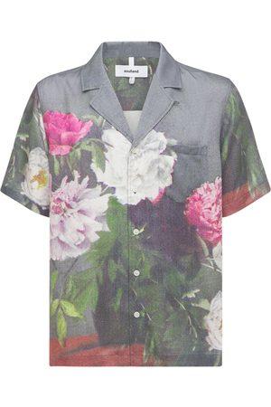 Soulland Orson Floral Print Satin S/s Shirt