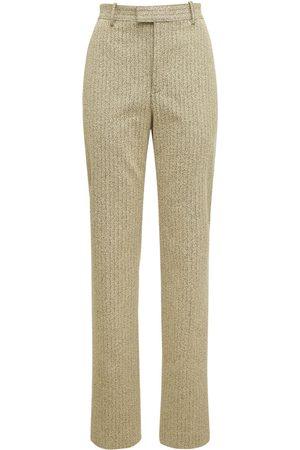 Bottega Veneta Women Straight Leg Pants - Light Bouclé Herringbone Straight Pants