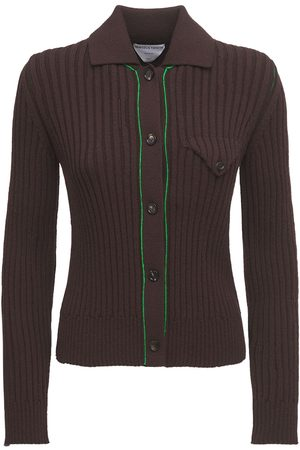 Bottega Veneta Wool Rib Knit Button-up Cardigan