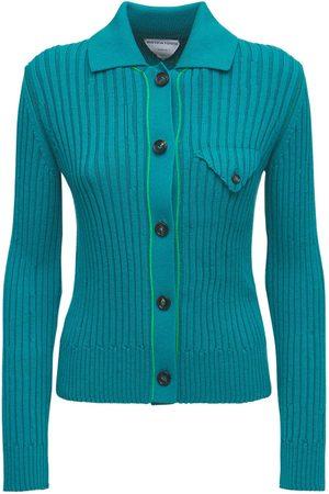 Bottega Veneta Wool Rib Knit Button-up Cardigan