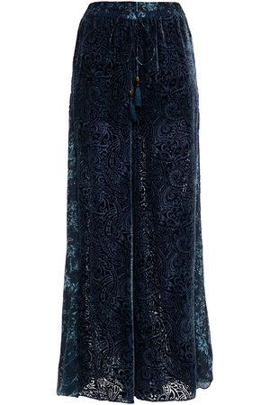 Camilla Women Wide Leg Pants - Woman Floral-print Chiffon-paneled Devoré-velvet Wide-leg Pants Petrol Size L
