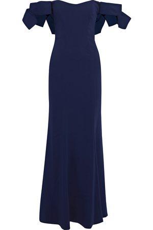 Badgley Mischka Woman Off-the-shoulder Bow-embellished Stretch-cady Gown Indigo Size 10