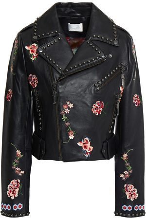 Camilla Women Leather Jackets - Woman Cropped Studded Embroidered Leather Biker Jacket Size S