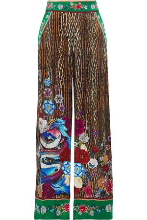 Camilla Women Wide Leg Pants - Woman Crystal-embellished Printed Silk Crepe De Chine Wide-leg Pants Animal Print Size S