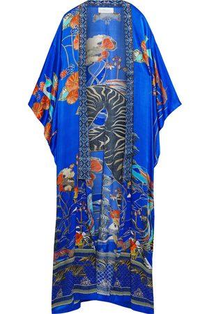 Camilla Women Kimonos - Woman Crystal-embellished Printed Silk Crepe De Chine Kimono Royal Size S/M