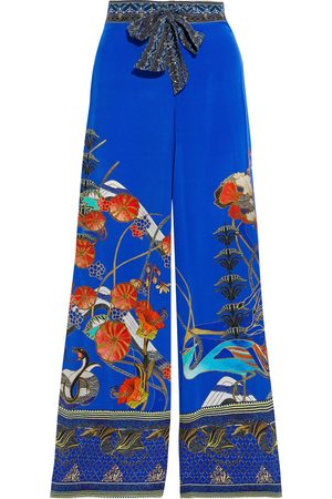 Camilla Women Wide Leg Pants - Woman Crystal-embellished Printed Silk Crepe De Chine Wide-leg Pants Royal Size ONESIZE