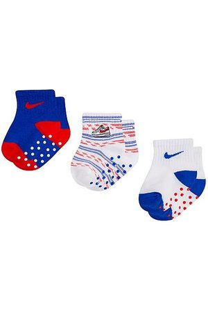 Nike Socks - Girls' Infant 3-Pack Gripper Ankle Socks Size 6-12 Month Cotton