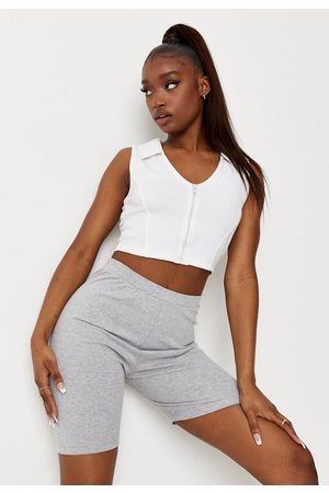 Missguided Rib Zip Front Collared Tank Crop Top