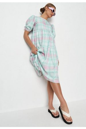 Missguided Plaid Maternity Smock Dress