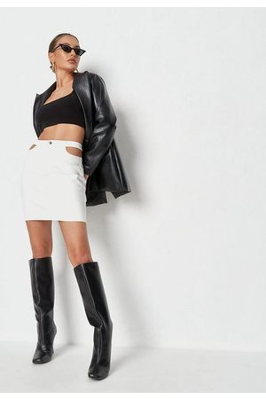 Missguided Women Mini Skirts - Faux Leather Cut Out Detail Mini Skirt