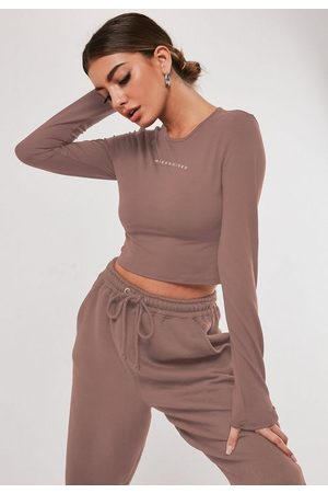 Missguided Rose Long Sleeve Crew Neck Crop Top