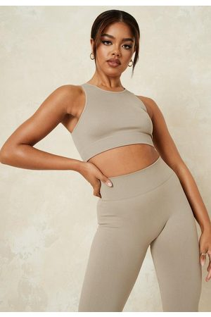 Missguided Women Sports Tops - Khaki Seamless Rib Racer Gym Top